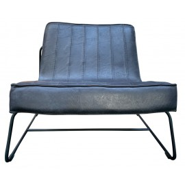 Chair Abel thick leather stitched Graphite