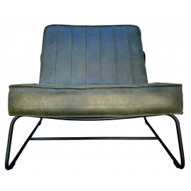 Chair Abel thick leather stitched Dark Green