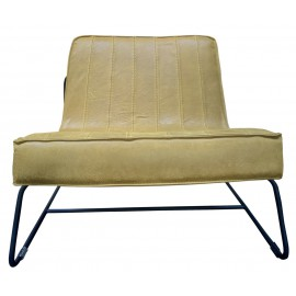 Chair Abel thick leather stitched Mustard