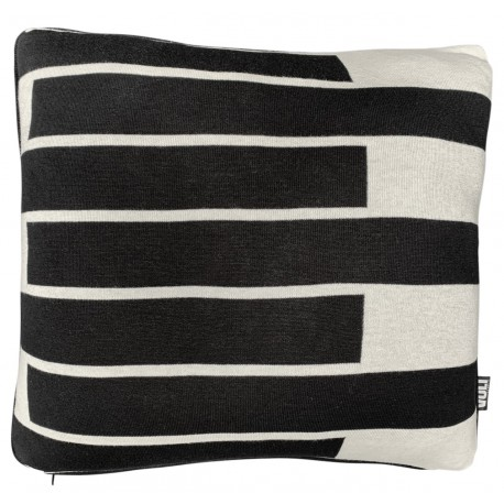 Cushion knitted 7 black stripes on Ivory