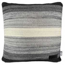 Cushion knitted degrade black, grey, ivory