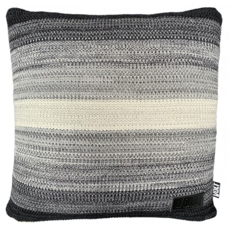Cushion knitted degrade black, grey, ivory