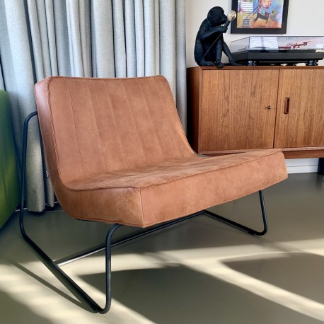 Chair Abel thick leather stitched Walnut