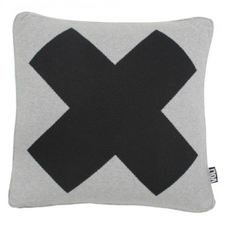Cushion Grey cross knitted
