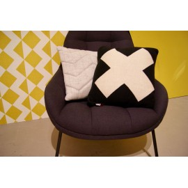 Cushion Black with white cross knitted