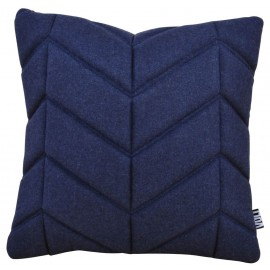 Cushion 3D fishbone 45x45cm felt navy blue melange