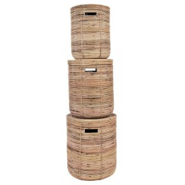 Rattan stripe basket natural set of 3