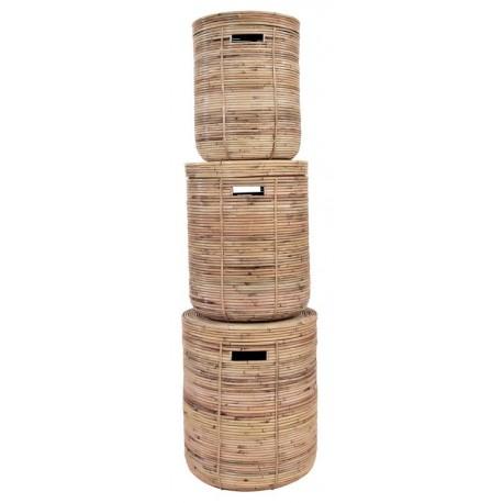 Rattan stripe basket natural set of 3