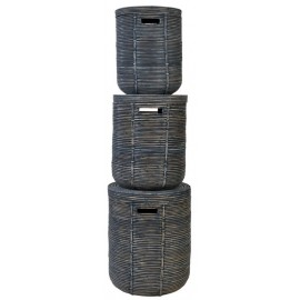 Rattan basket stripe black set of 3