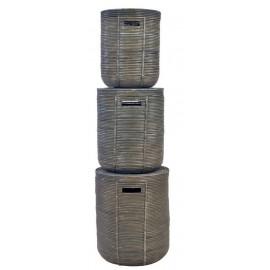 Rattan basket stripe olive green set of 3