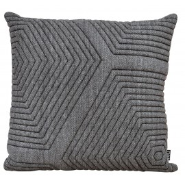 Cushion 3D Maze wool Herringbone 60x60cm dark blue