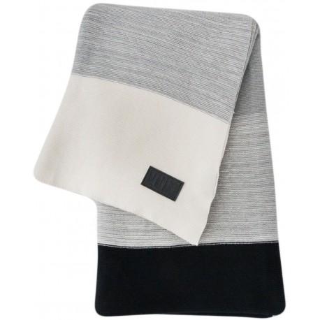 Throw knitted stripes black, grey, white 130x180cm