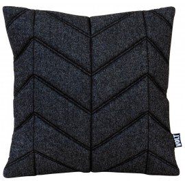 Cushion 3D fishbone black/dark grey melange felt