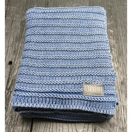 Knitted plaid Fatty denim blue stonewash