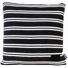 Cushion Stan knitted stripes dark grey/ivory 45x45cm
