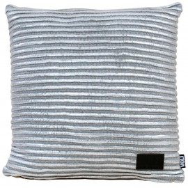 Cushion knitted grey stripes with silver foil 45x45cm