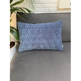 Cushion 3D Geometric velvet blue 40x60cm