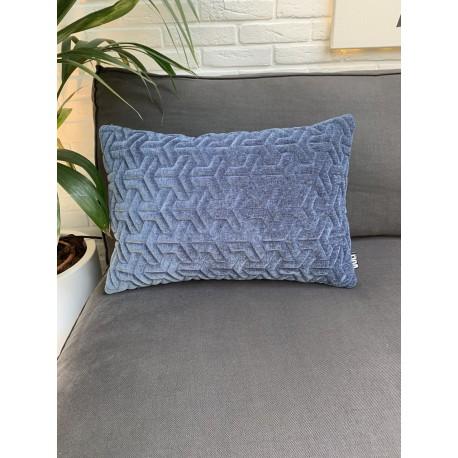 Cushion 3D Geometric velvet blue 40x60cm