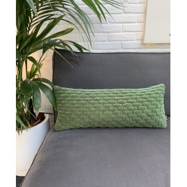 Cushion 3D Small bricks velvet green 30x70cm