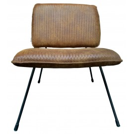 Chair Mick Weave embossed Tabac leather